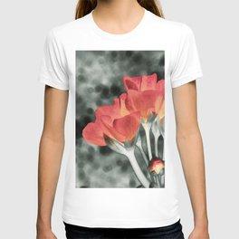 Coral Orange Peach Flowers T-shirt