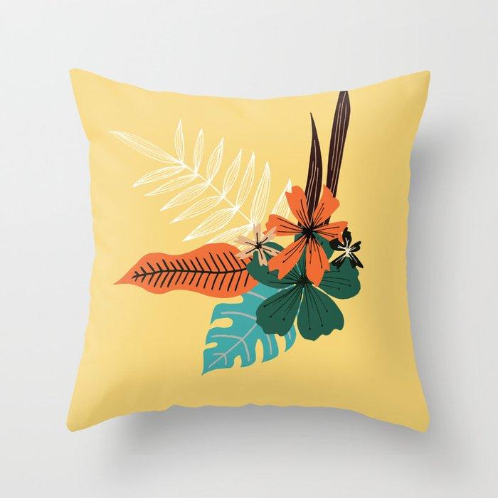 tropical floral arrangement on golden yellow Throw Pillow