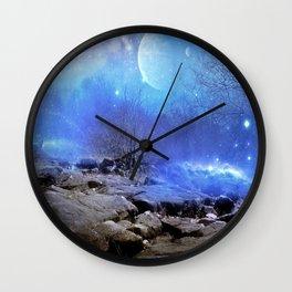 Fantasy Landscape, Moon Stars Wall Clock