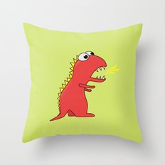 Cute Cartoon Dinosaur With Fire Breath Throw Pillow