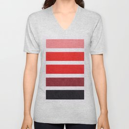 Colorful Red Geometric Pattern Unisex V-Neck