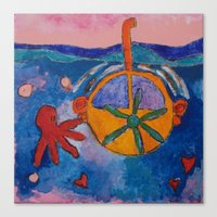 yellow submarine Canvas Prints featuring Submarine by constanza briceno