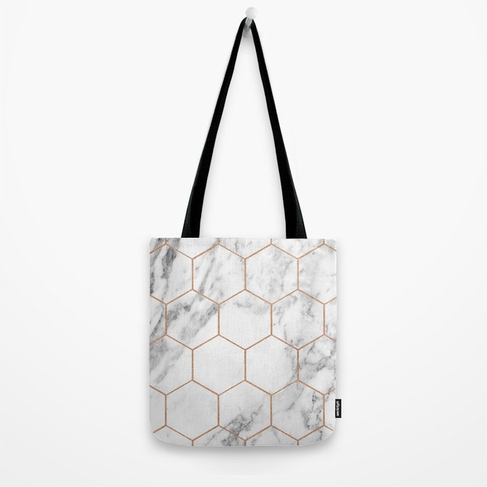 Rose gold marble hexagons honeycomb pattern Tote Bag