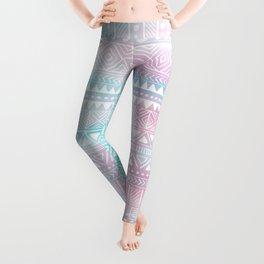 Hand Drawn African Patterns - Pastel Pink & Turquoise Leggings