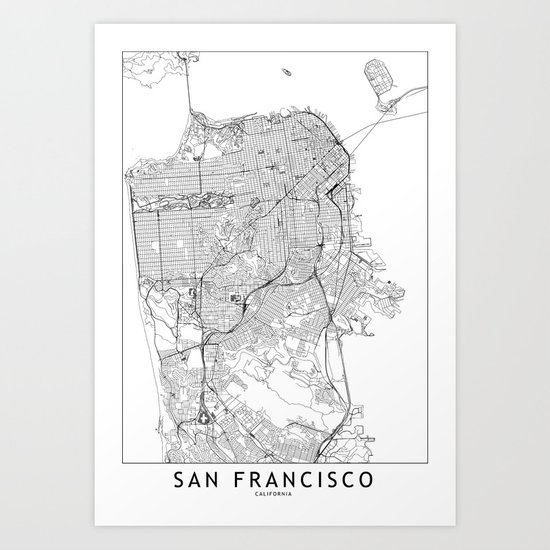 San Francisco White Map by multiplicity