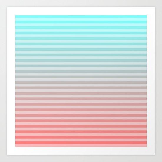 Beach Blanket - Aqua/Peach Art Print