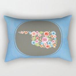Oklahoma Watercolor Flowers on Blue Rectangular Pillow