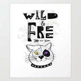 Wild and Free cat. Art Print