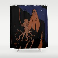 cthulhu Shower Curtains featuring Cthulhu by Theo Leschevin