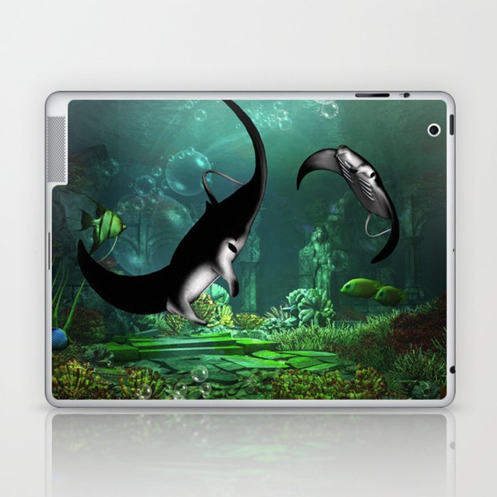 Wonderful manta rays in the deep ocean Laptop & iPad Skin