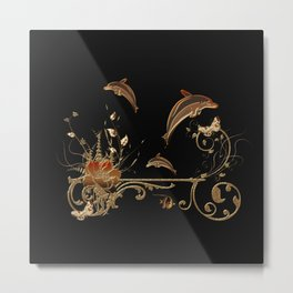 Funny dolphins with flowers Metal Print