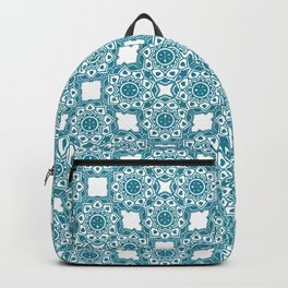 Turquoise Flower Doodle with Digital Glitter Effect -Graphic Design Pattern Backpack
