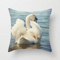 swan Throw Pillows featuring Swan by Svetlana Sewell