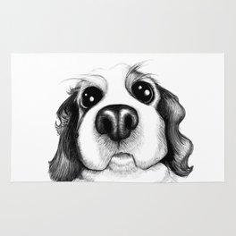 Sketch of a Spaniel who wants his belly rubbed! Rug