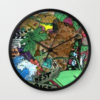 west coast Wall Clocks featuring west coast. by Late Bloomer
