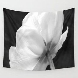 Close-up of white tulip in black background Wall Tapestry