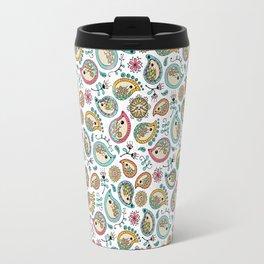 Hedgehog Paisley_Colors and White Travel Mug