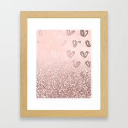 Rose Gold Sparkles on Pretty Blush Pink with Hearts Framed Art Print