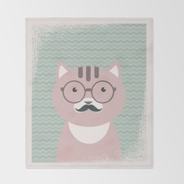 Clever Cat Hipster Mustache Character Throw Blanket