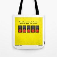 senna Tote Bags featuring No075 My senna minimal movie poster by Chungkong
