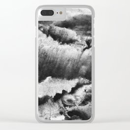 gray black and white gradient, marbling watercolor paint in monotype technique, abstract texture Clear iPhone Case
