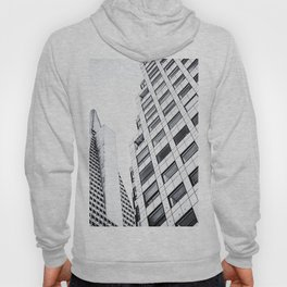 pyramid building and modern building at San Francisco, USA in black and white Hoody