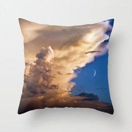 Clouds, Birds, Moon, Venus Throw Pillow