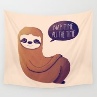 nan lawson Wall Tapestries featuring Nap Time All The Time by Nan Lawson