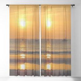 Heavenly ocean sunset Sheer Curtain