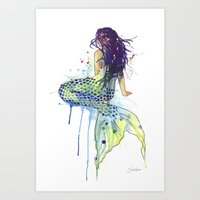 mermaid Art Prints featuring Mermaid by Sam Nagel