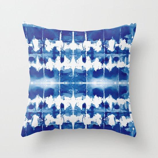 Indigo Blue Throw Pillow : Shibori Tie Dye Indigo Blue Throw Pillow by Simple Luxe Society6