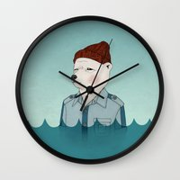 the life aquatic Wall Clocks featuring Bill Murray - Life Aquatic by Drivis