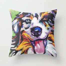 Fun AUSTRALIAN SHEPHERD Dog bright colorful Pop Art Throw Pillow