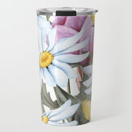 Summer Floral Watercolour Bouquet Travel Mug