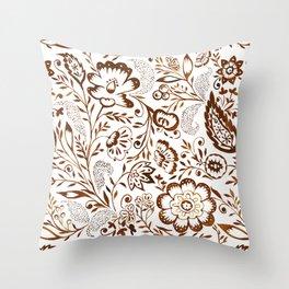 Folk Floral Brown Throw Pillow