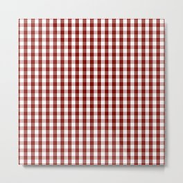 Large Vintage New England Shaker Dark Barn Red Milk Paint Gingham Check Plaid Metal Print