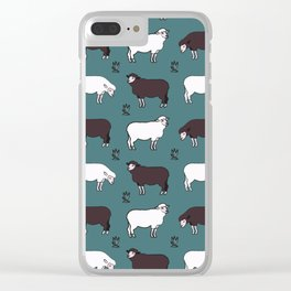 Sheep spread green Clear iPhone Case