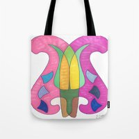 flower of life Tote Bags featuring Life by SaraLaMotheArt