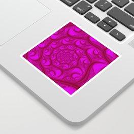 Fractal Web Red on Pink Sticker