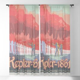 Kepler-186 : NASA Retro Solar System Travel Posters Sheer Curtain