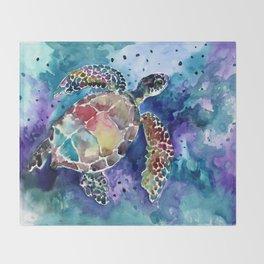 Sea Turtle underwater, beach deep blue barine blue turtle beach style design Throw Blanket