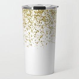 Sparkling gold glitter confetti on simple white background - Pattern Travel Mug