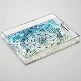 Mandala Blue Yellow Acrylic Tray