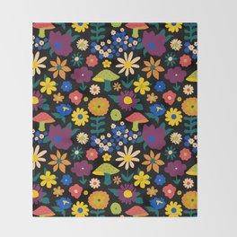60's Country Mushroom Floral in Black Throw Blanket