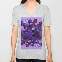 FEBRUARY PURPLE AMETHYST CRYSTAL CLUSTER GEMS Unisex V-Neck