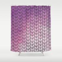herringbone Shower Curtains featuring Herringbone by Tooth & Nail Designs