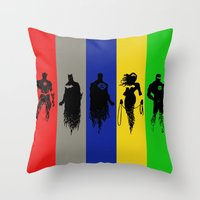 justice league Throw Pillows featuring Justice Silhouettes by iankingart