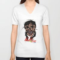 bows V-neck T-shirts featuring Skull-N-Bows by KNIfe