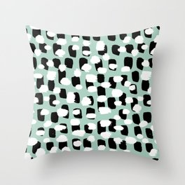 Spotted series abstract dashes mint black and white raw paint spots Throw Pillow