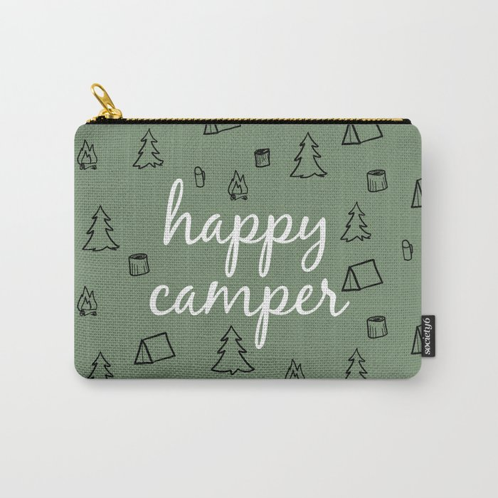 Happy Camper in Fern Green Carry-All Pouch